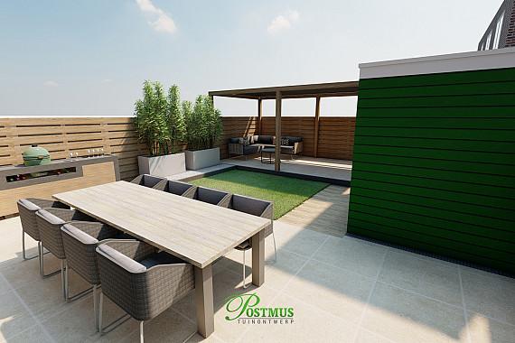 Strak & moderne tuin met diverse materialen