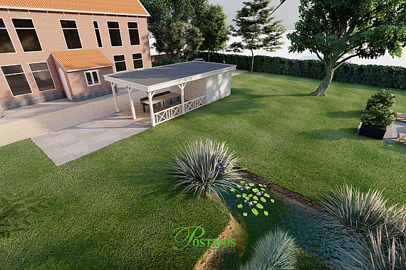 Riante tuin met een terras en overkapping