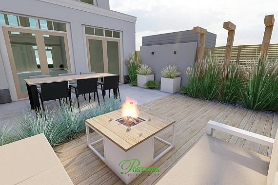 Luxe keramische tegels in kleine tuin