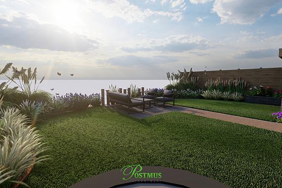 Terras met groen en veranda