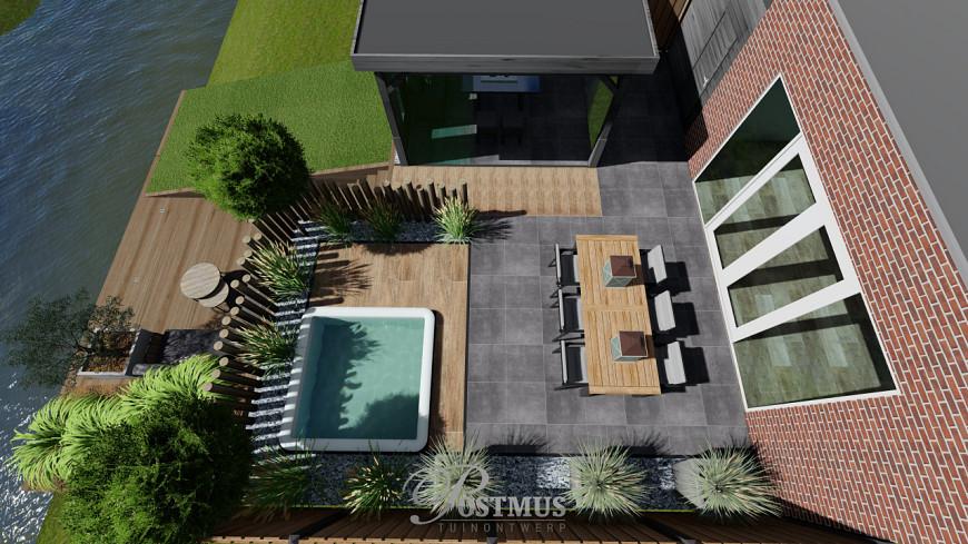 Combinatie van keramische terras tegels en luxe veranda