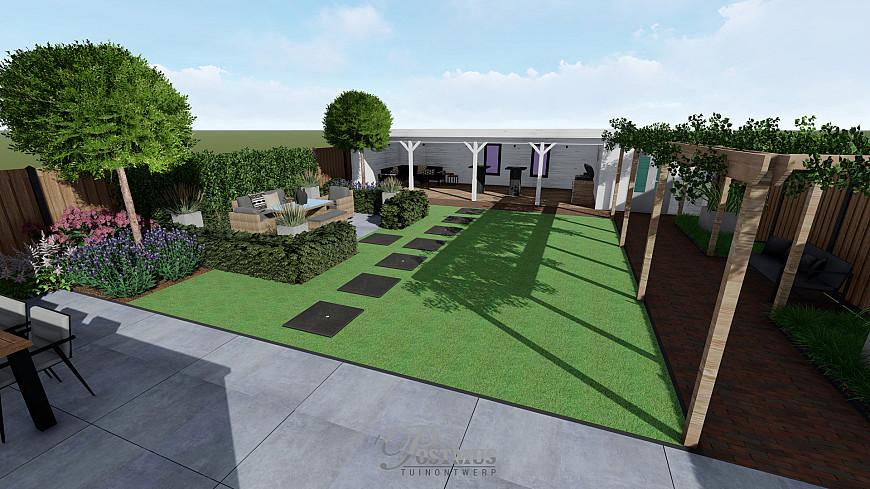 Grote tegels, maken het terras optisch nog groter