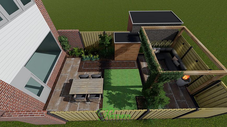 Compact tuin, maar visueel goed zichtbaar hoe het er uit komt te zien